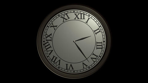 classic wall clock ticking with alpha Stock Video Footage