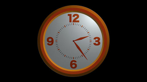 orange clock timelapse with alpha Stock Video Footage