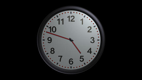 elegant wall clock with alpha Stock Video Footage