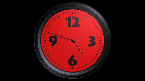 red clock timelapse with alpha Stock Video Footage