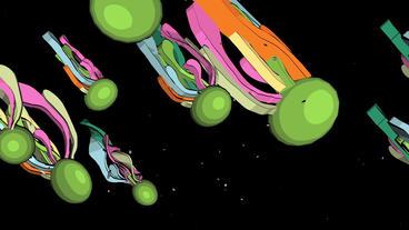 Color Sci-fi fantasy squid creatures,Abstract cartoon... Stock Video Footage