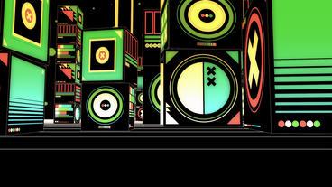 Cartoon music box symbol in Virtual stylish... Stock Video Footage