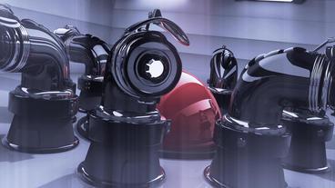 Geometry metal ball in computer virtual space,sci-fi... Stock Video Footage