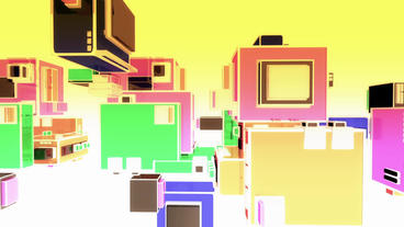 Cartoon music box symbol in Virtual stylish space,Abstract geometric background Animation