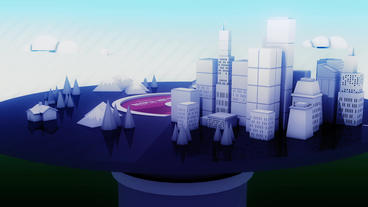Rotation Of 3d Virtual Geometric City On CD Record stock footage