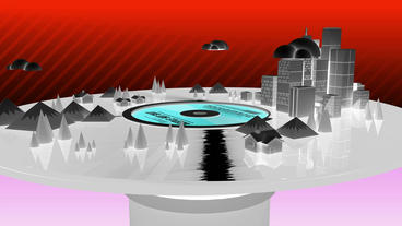 Rotation of 3d Virtual geometric City on CD records... Stock Video Footage