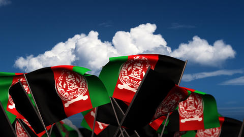 Waving Afghan Flags Stock Video Footage