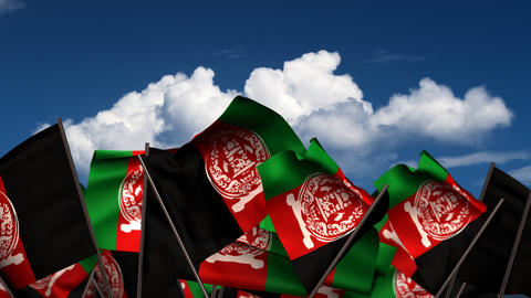 Waving Afghan Flags Animation