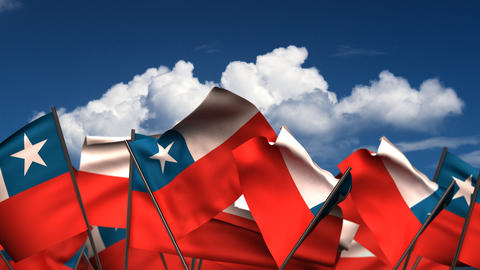 Waving Chilean Flags Animation