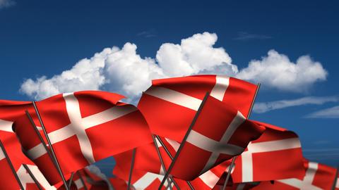 Waving Danish Flags Stock Video Footage