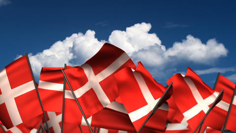 Waving Danish Flags Animation
