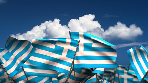 Waving Greek Flags Stock Video Footage