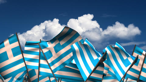 Waving Greek Flags Animation