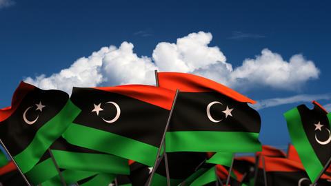 Waving Libyan Flags Stock Video Footage
