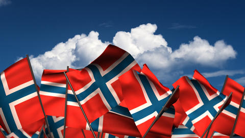 FWaving Norwegian Flags Stock Video Footage