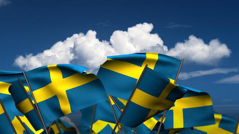 Waving Swedish Flags Stock Video Footage