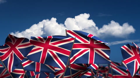 Waving United Kingdom Flags Stock Video Footage