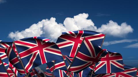 Waving United Kingdom Flags Stock Video Footage