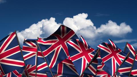 Waving United Kingdom Flags Animation