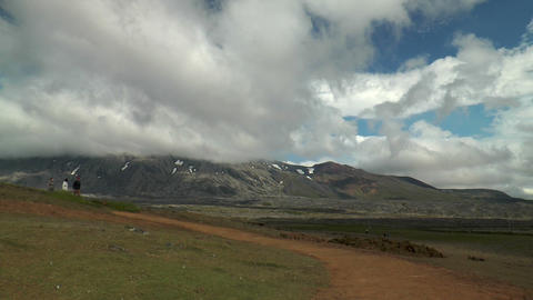 pan over mountains and coastline on reykjanes peni Stock Video Footage