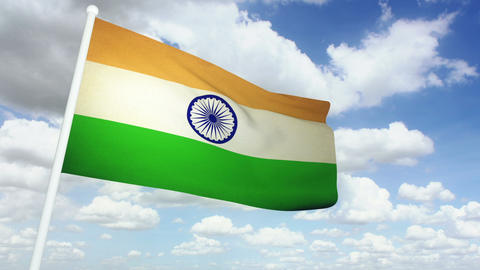 Flag India 02 Stock Video Footage