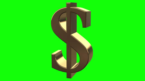 Dollar symbol rotates close up Animation
