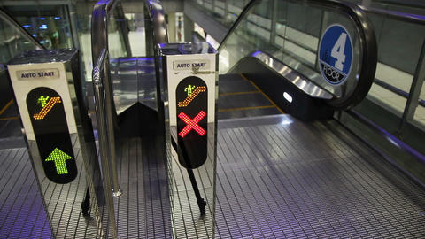 Escalator Walkway In Airport Footage