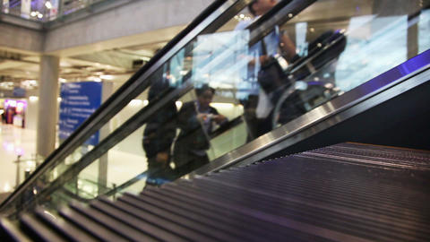 Escalator Walkway In Airport stock footage