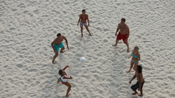 Friends Playing Volleyball on Beach Footage