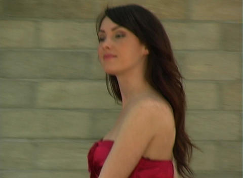 Beautiful, Sexy Brunette Walking Outdoors (4) Stock Video Footage
