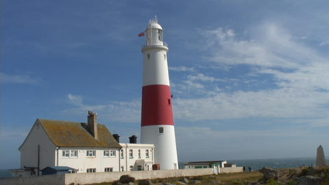 PortlandBill HighShots Seaside LIGHTHOUSE stock footage