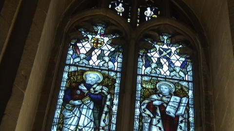 Wells cathedral Outside StainGlass window2 Stock Video Footage
