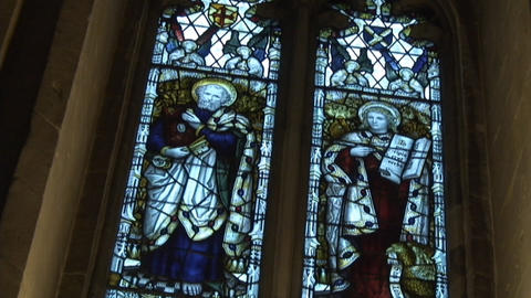 Wells cathedral Outside StainGlass window2 Footage