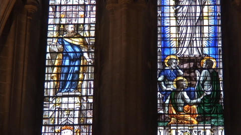 Wells cathedral StainGlass2 Stock Video Footage