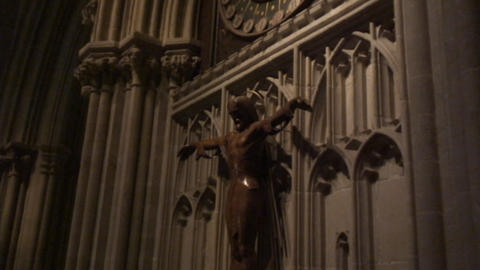Wells Cathedral ClockCS JesusStatue Footage