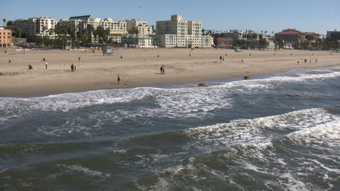 Sunny beach scenic of Santa Monica (High Definition) Stock Video Footage