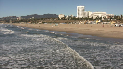 Sunny beach scenic of Santa Monica (High Definition) Footage