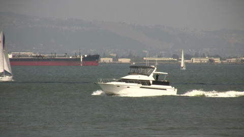 Yacht motors across the sunny San Francisco Bay Footage