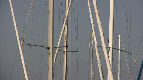 Boat masts gently bob up and down Stock Video Footage