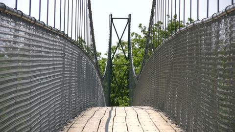 Suspension bridge crosses over the treetops (High Definition) Footage