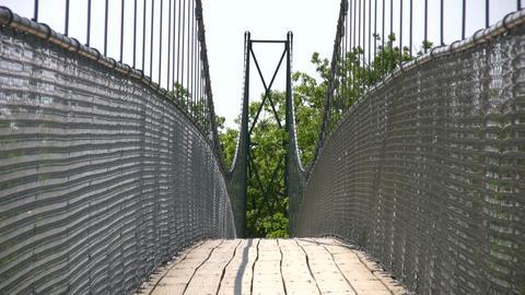 Suspension bridge crosses over the treetops (High... Stock Video Footage