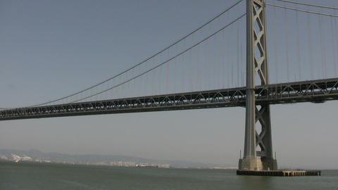 Bay Bridge in San Francisco Bay Stock Video Footage