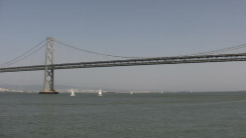Bay Bridge in San Francisco Bay (Panning) Footage
