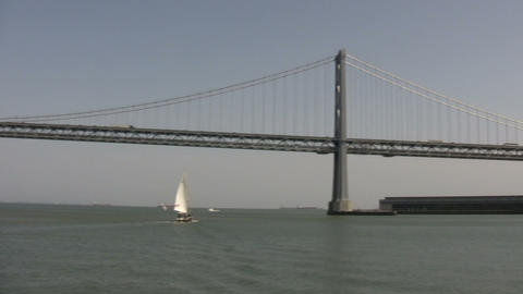 Bay Bridge in San Francisco Bay (Panning) Stock Video Footage