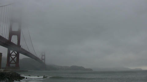View of the Golden Gate Bridge on foggy day Footage