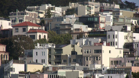 Buildings crowd the Coit Tower hill on a sunny day Footage