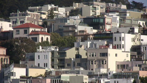 Buildings crowd the Coit Tower hill on a sunny day Stock Video Footage