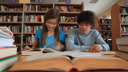 Students in School Library Footage