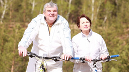 Active Seniors Ready to Cycle Footage
