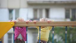 Girls Climbing Net Footage